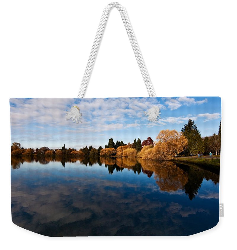 Greenlake Weekender Tote Bag featuring the photograph Greenlake Fall Reflections by Mike Reid