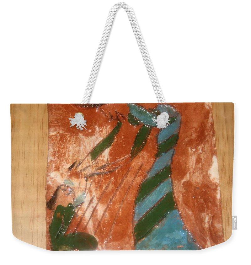 Jesus Weekender Tote Bag featuring the ceramic art Greeting - Tile by Gloria Ssali