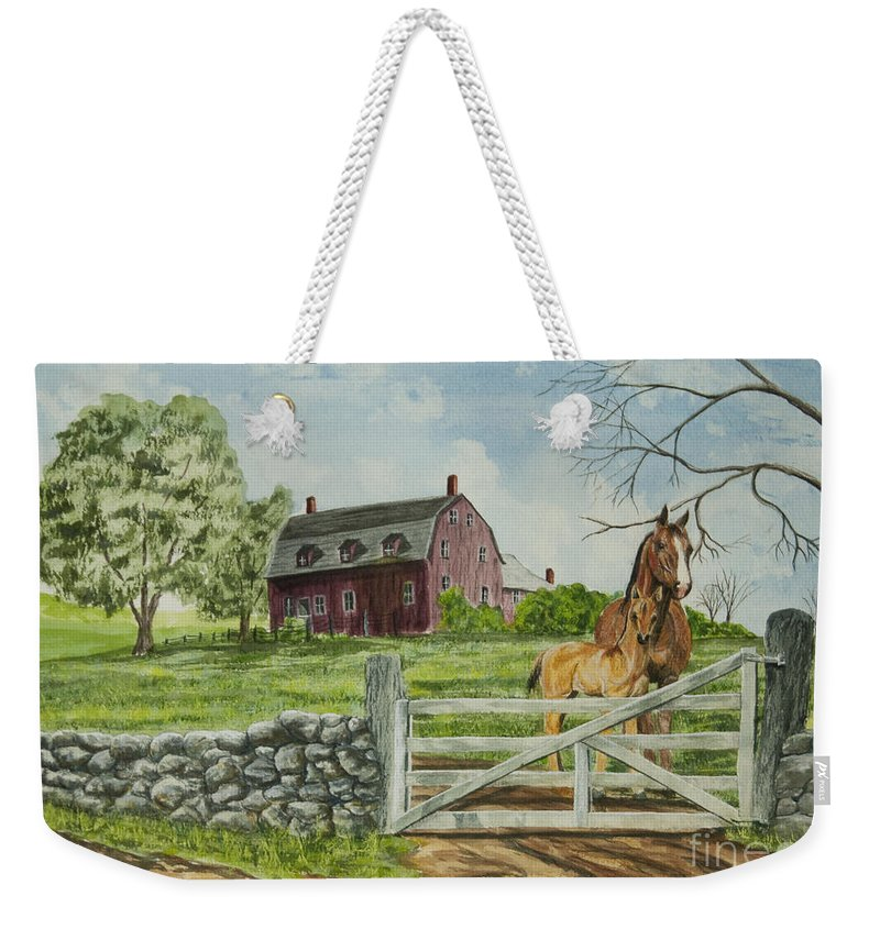 Horses Weekender Tote Bag featuring the painting Greeting At The Gate by Charlotte Blanchard