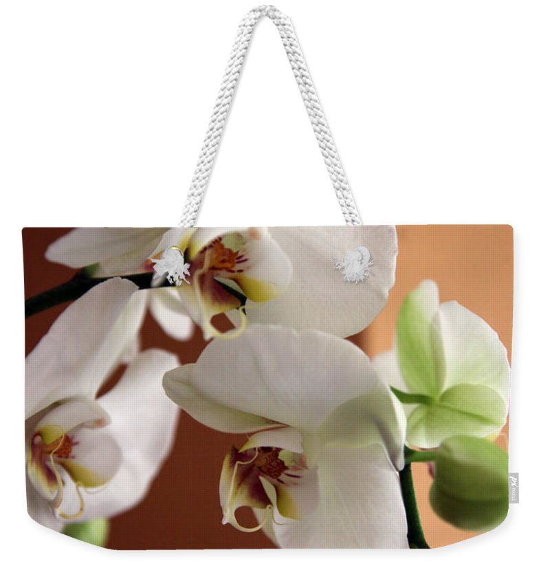 Orchid Weekender Tote Bag featuring the photograph Greeting The Day by Amanda Barcon