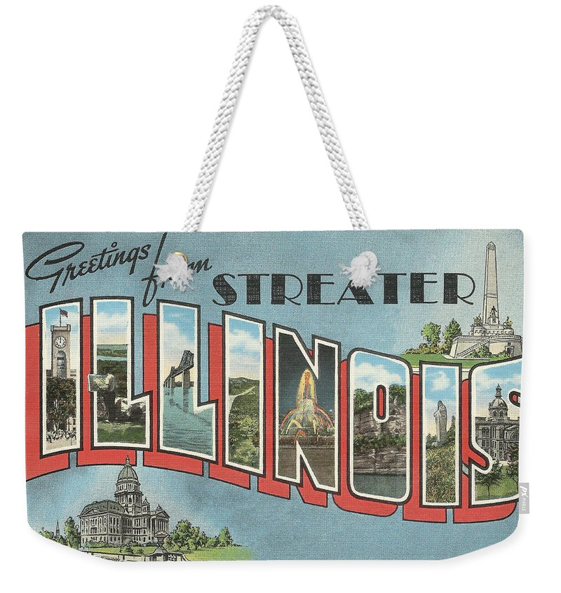 Weekender Tote Bag featuring the digital art Greetings From Streater Illinois by Colleen Cornelius