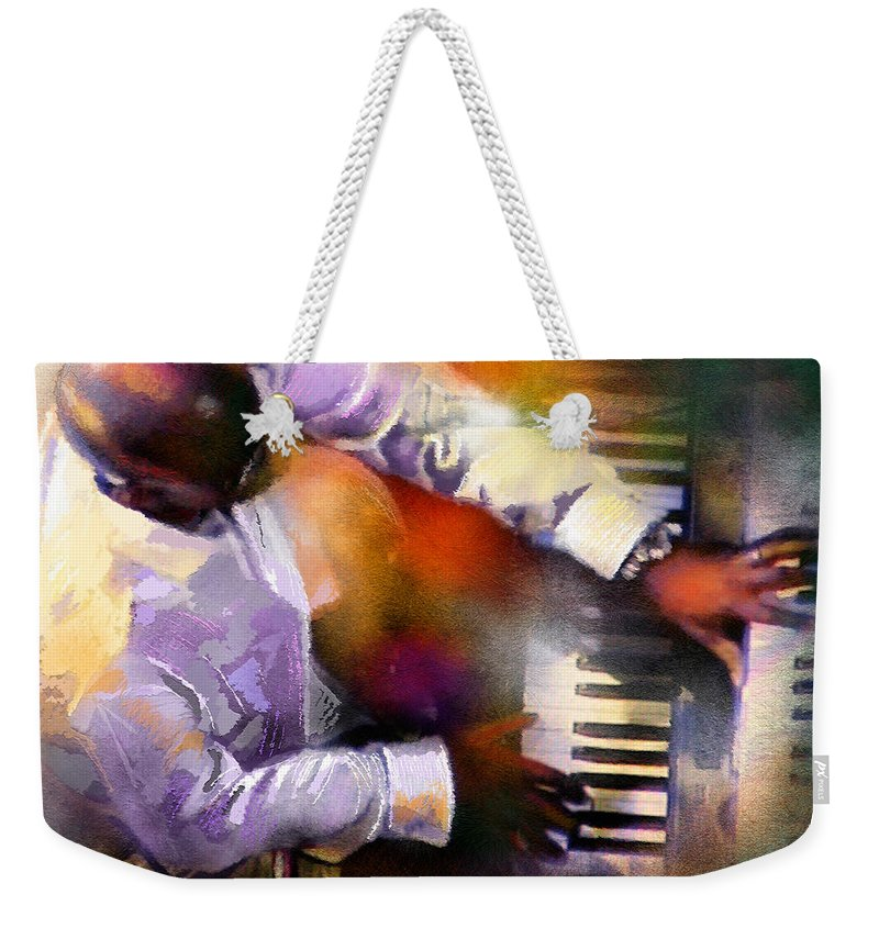 Musicians Weekender Tote Bag featuring the painting Greg Phillinganes From Toto by Miki De Goodaboom