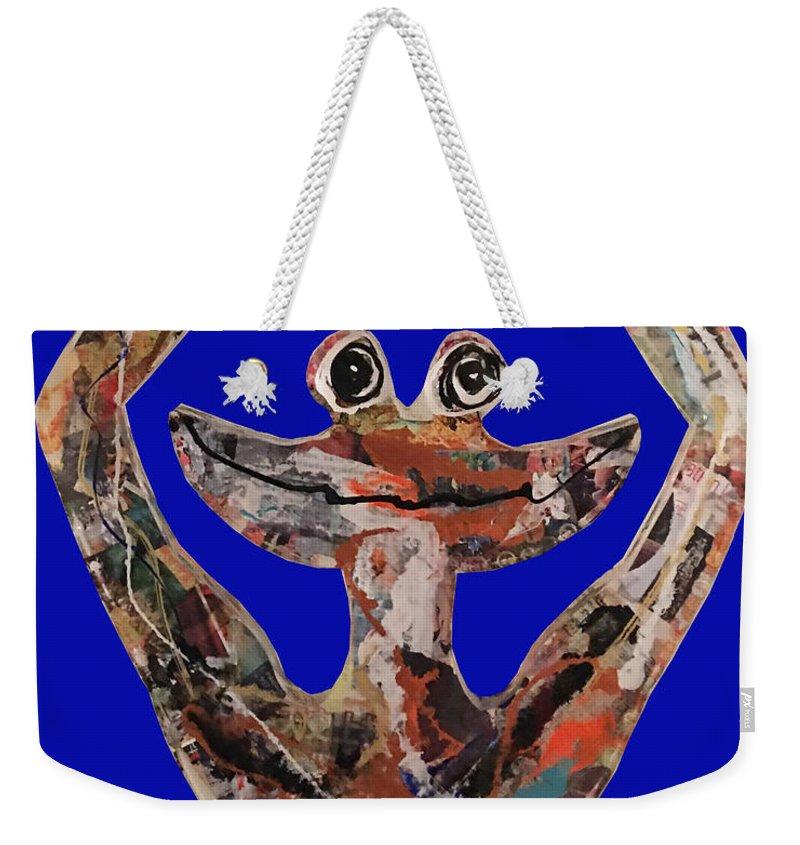 Frog Zen Smile Weekender Tote Bag featuring the sculpture Gren Zen by Patricia Molinaro