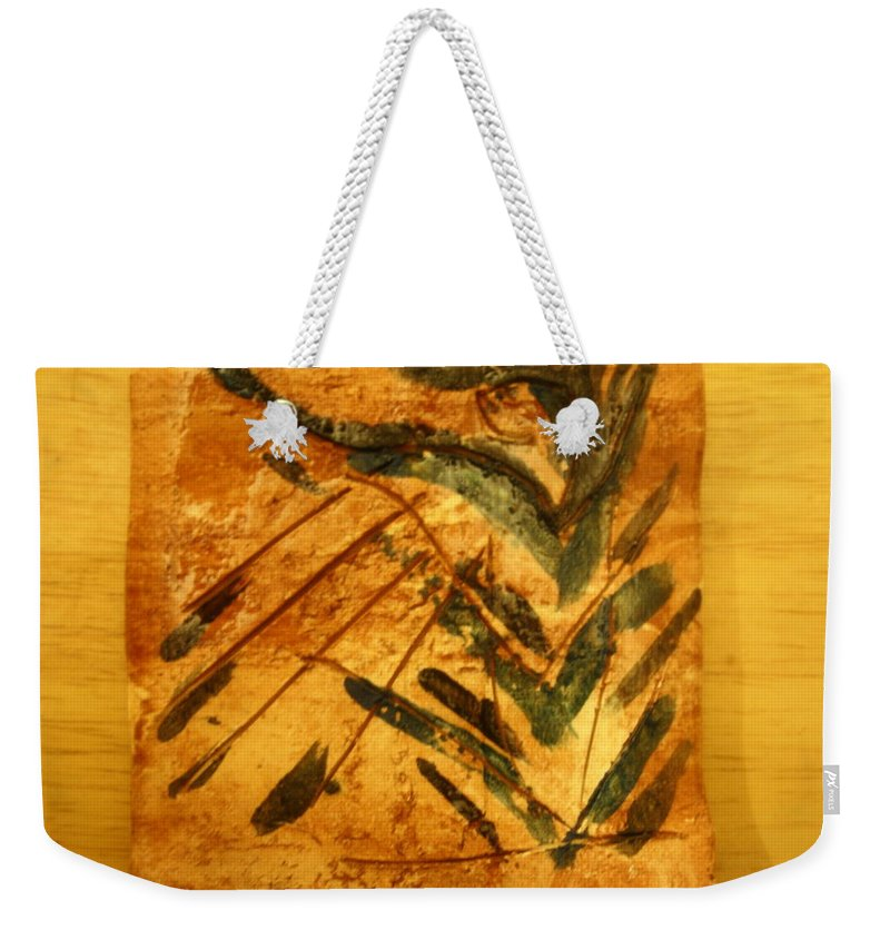 Jesus Weekender Tote Bag featuring the ceramic art Greta - Tile by Gloria Ssali