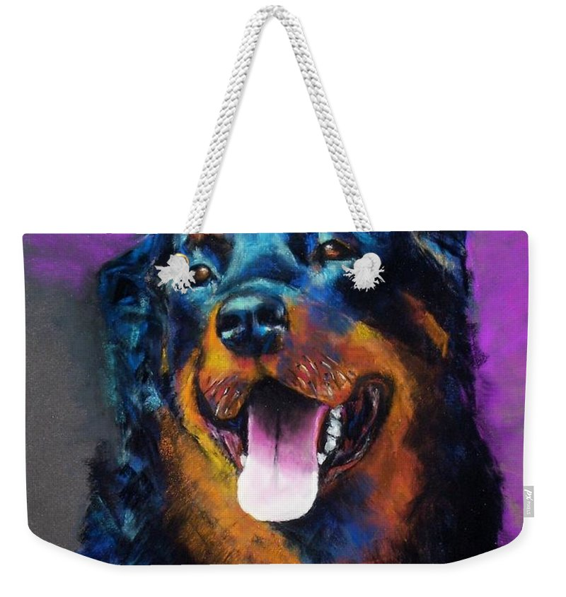 Rottweiler Weekender Tote Bag featuring the painting Gretchen by Frances Marino