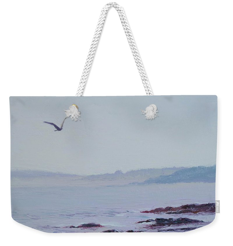 Seascape Weekender Tote Bag featuring the painting Grey Day In Newport by Lea Novak