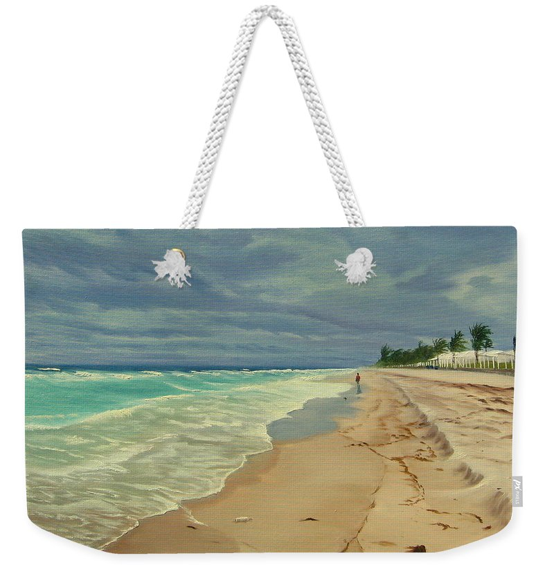 Beach Weekender Tote Bag featuring the painting Grey Day On The Beach by Lea Novak