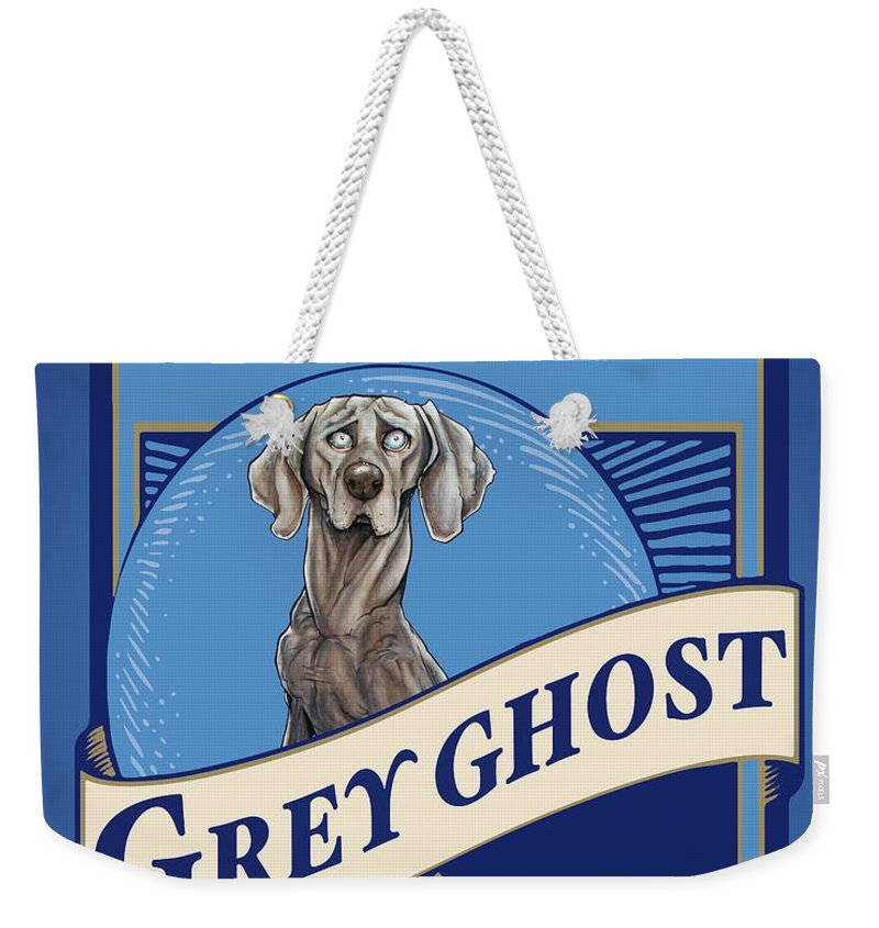 Beer Weekender Tote Bag featuring the drawing Grey Ghost Weimar-Weizen Wheat Ale by Canine Caricatures Custom Merchandise