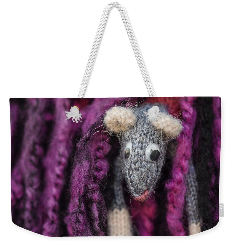 Crochet Weekender Tote Bag featuring the photograph Grey Handmade Mouse by TouTouke A Y