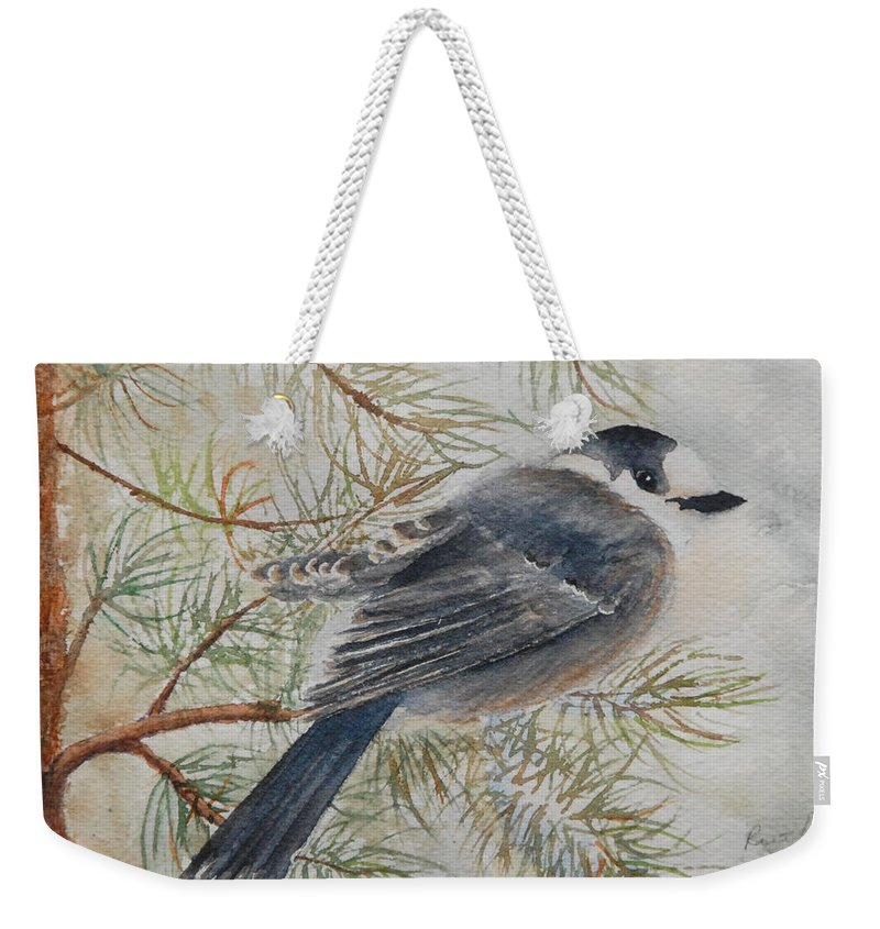 Bird Weekender Tote Bag featuring the painting Grey Jay by Ruth Kamenev