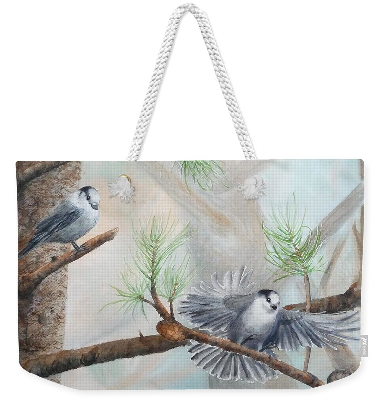 Grey Jay Weekender Tote Bag featuring the painting Grey Jays In A Jack Pine by Ruth Kamenev