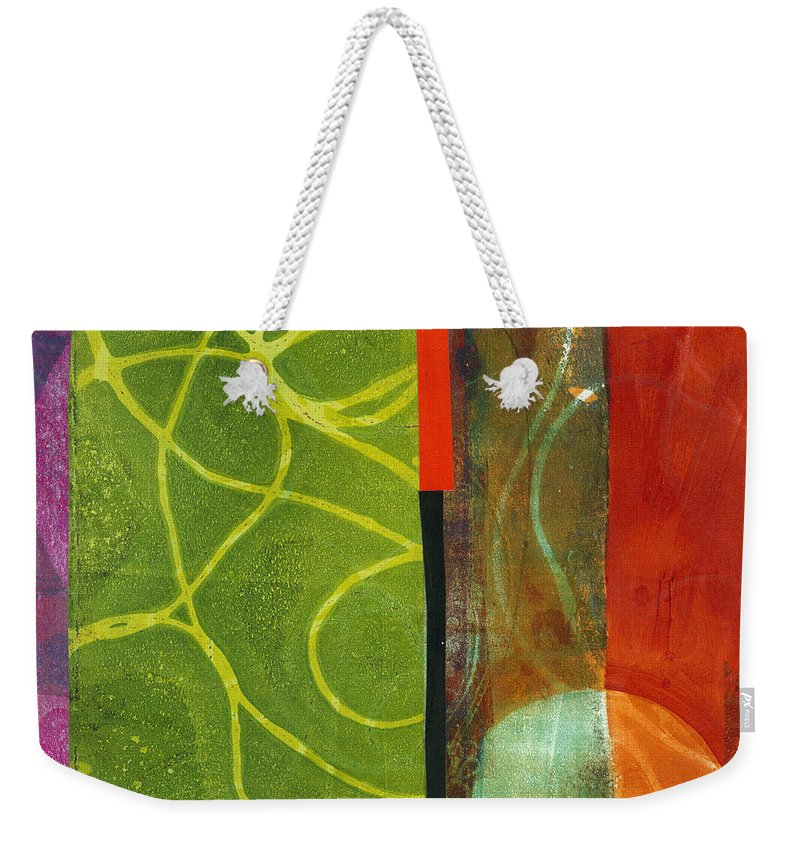 Acrylic And Collage Weekender Tote Bag featuring the painting Grid Print 13 by Jane Davies