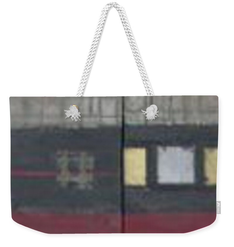 Abstract Weekender Tote Bag featuring the mixed media Griddies by Marlene Burns