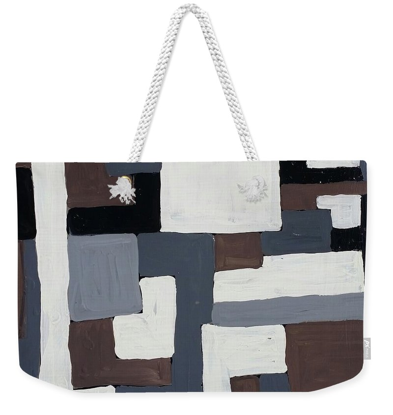 Grids Weekender Tote Bag featuring the painting Grids by Peter Nervo