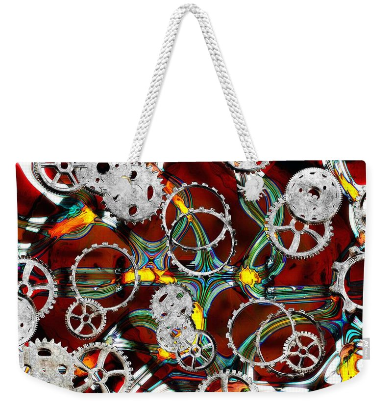 Gears Weekender Tote Bag featuring the painting Grinding The Gears by RC DeWinter