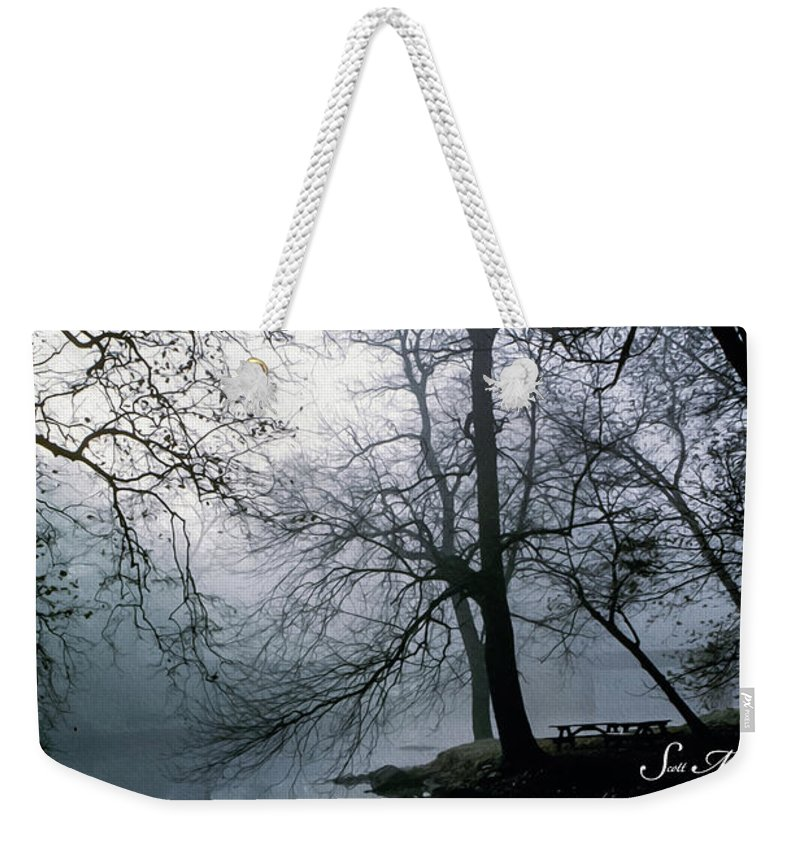 Grings Mill Recreation Area Weekender Tote Bag featuring the photograph Grings Mill Fog 1043 by Scott McAllister