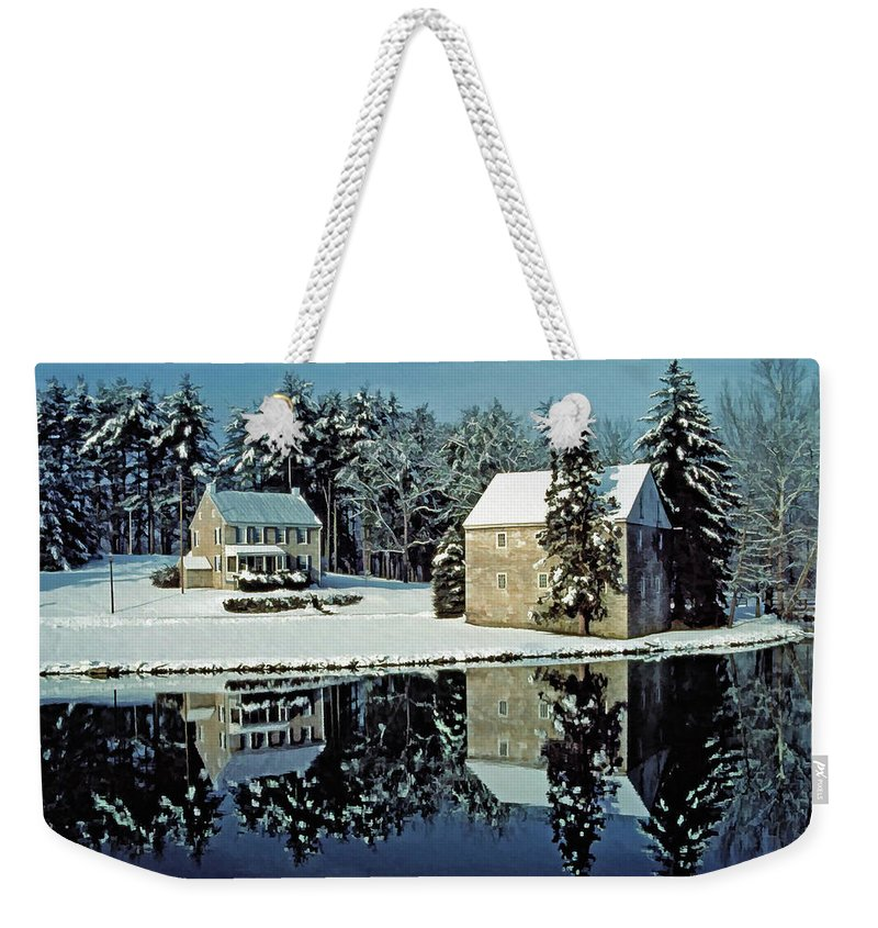 Grings Mill Recreation Area Weekender Tote Bag featuring the photograph Grings Mill Snow 001 by Scott McAllister
