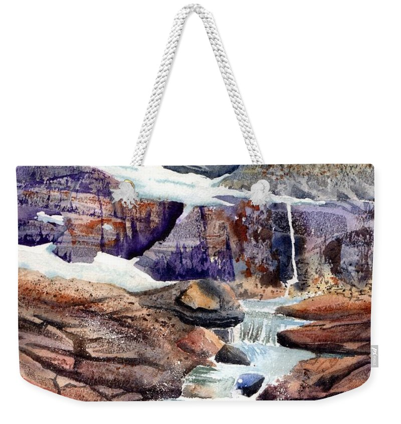 Texture Weekender Tote Bag featuring the painting Grinnell Glacier by Tammy Crawford