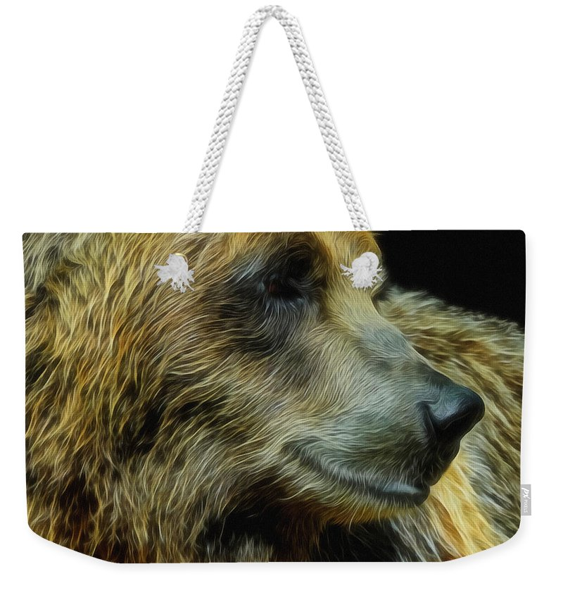 Animals Weekender Tote Bag featuring the digital art Grizzly Profile by Ernie Echols