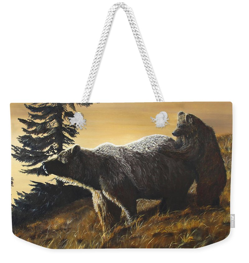 Wildlife Weekender Tote Bag featuring the painting Grizzly With Cub by Johanna Lerwick