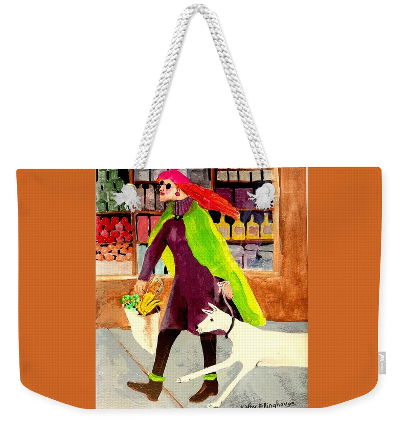 Dog Weekender Tote Bag featuring the painting Grocery Run by Kathy Ellinghouse