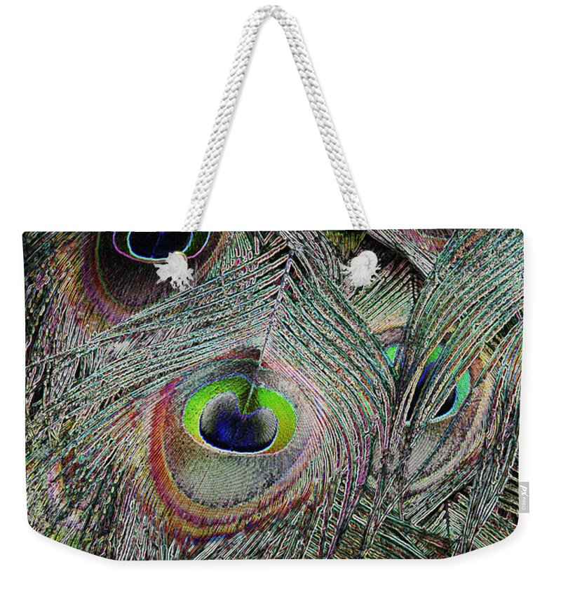 Peacock Weekender Tote Bag featuring the photograph Groovy Peacock by Judy Whitton