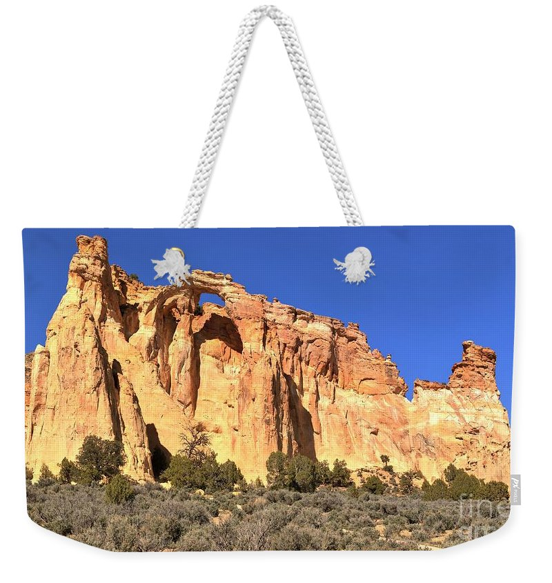 El Malpais Weekender Tote Bag featuring the photograph Groscenor Double Arch Panorama by Adam Jewell