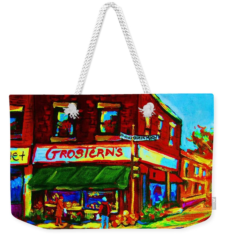 Grosterns Weekender Tote Bag featuring the painting Grosterns Market by Carole Spandau