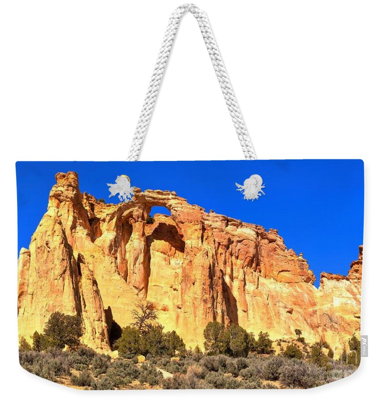 Grosvenor Arch Weekender Tote Bag featuring the photograph Grosvenor Arch Panorama by Adam Jewell