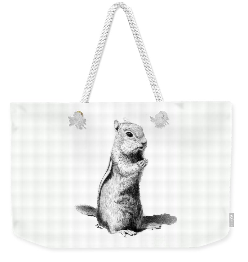 Ground Squirrel Weekender Tote Bag featuring the drawing Ground Squirrel by Lynn Quinn