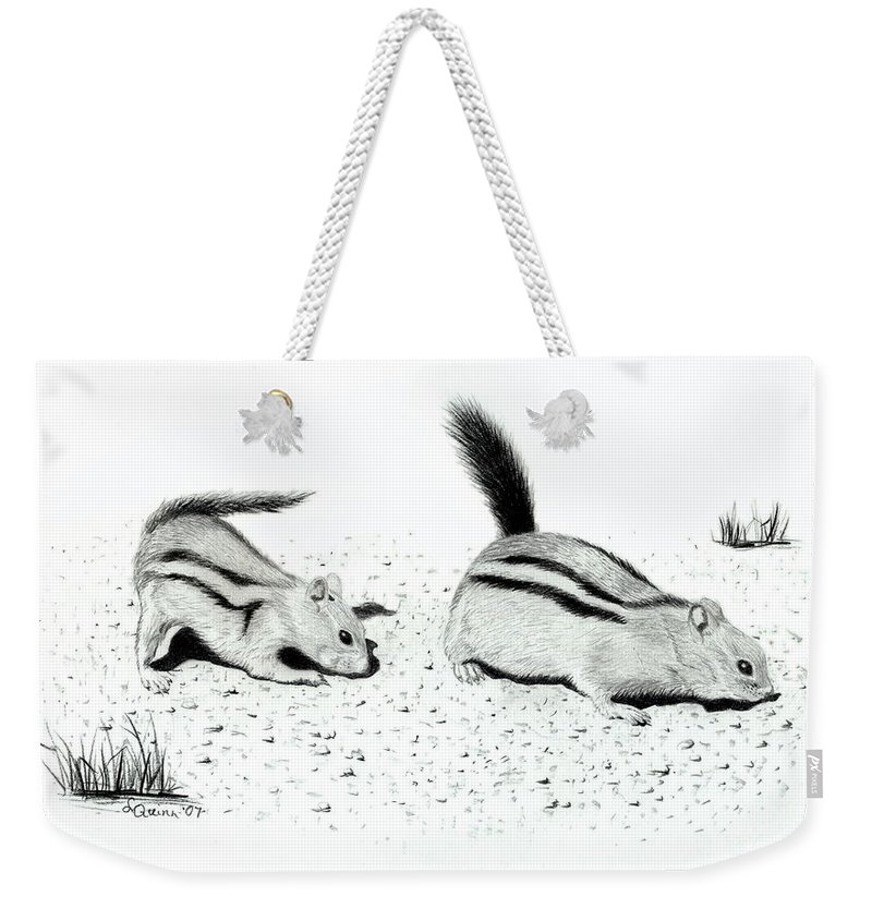 Ground Squirrels Weekender Tote Bag featuring the drawing Ground Squirrels by Lynn Quinn