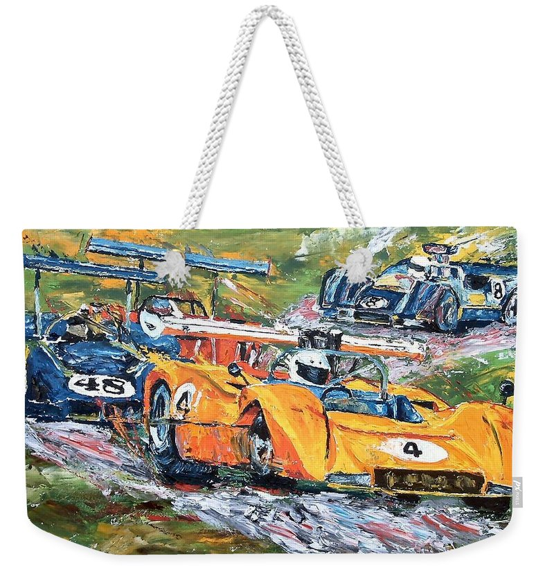 Can-am Race Cars Weekender Tote Bag featuring the painting Group 7 Out Of The Corkscrew by Debbie Sampson