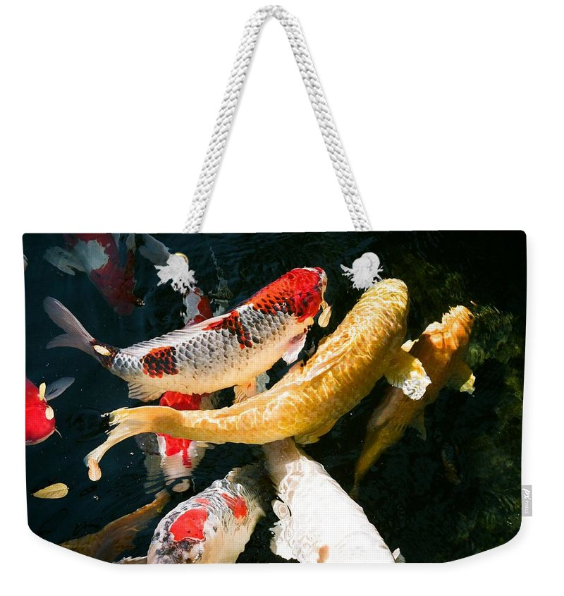 Fish Weekender Tote Bag featuring the photograph Group Of Koi Fish by Dean Triolo