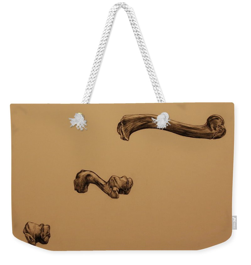 Bone Weekender Tote Bag featuring the drawing Growing Bone by Michelle Miron-Rebbe