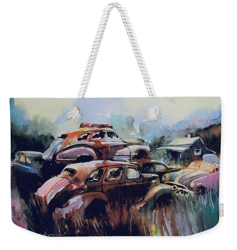Rusted Chevs Weekender Tote Bag featuring the painting Growing Older by The Year by Ron Morrison
