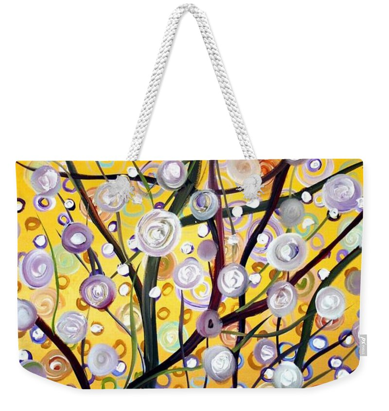 Landscape Weekender Tote Bag featuring the painting Growing Together by Luiza Vizoli