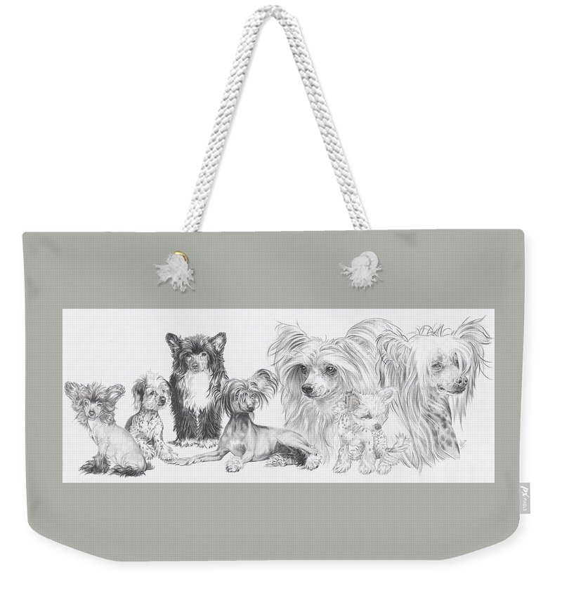 Toy Group Weekender Tote Bag featuring the drawing Growing Up Chinese Crested And Powderpuff by Barbara Keith