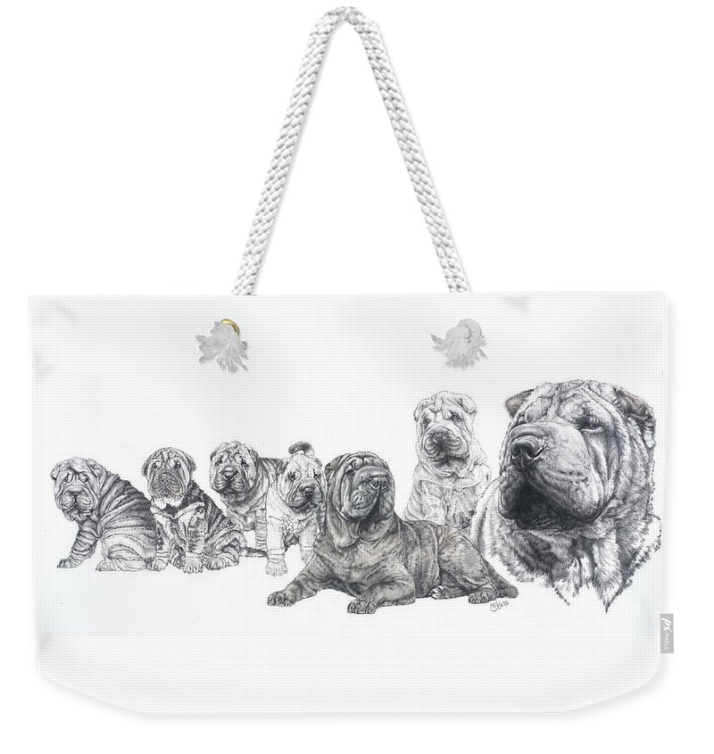 Dog Weekender Tote Bag featuring the drawing Growing Up Chinese Shar-pei by Barbara Keith