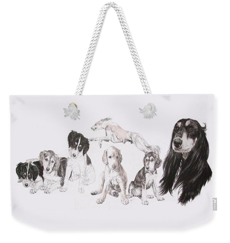 Purebred Dogs Weekender Tote Bag featuring the mixed media Growing Up Saluki by Barbara Keith