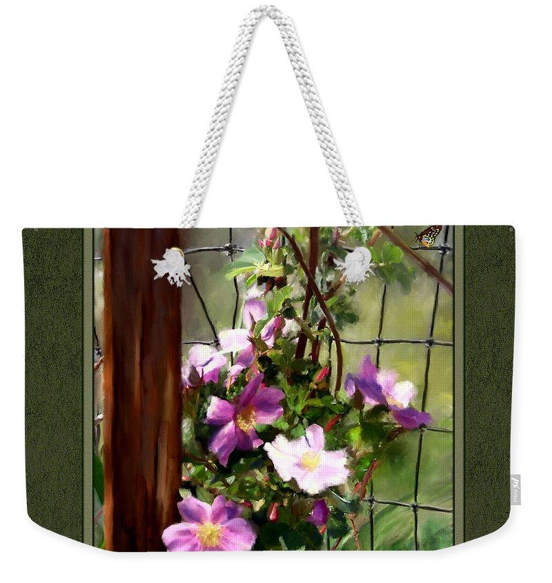 Roses Weekender Tote Bag featuring the digital art Growing Wild by Susan Kinney