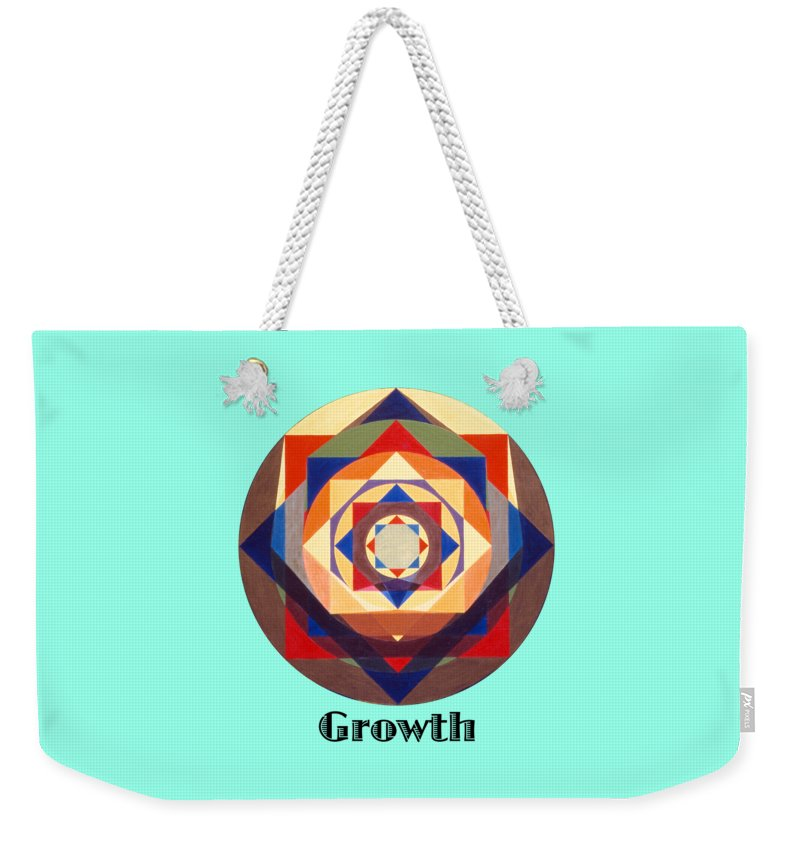 Painting Weekender Tote Bag featuring the painting Growth text by Michael Bellon