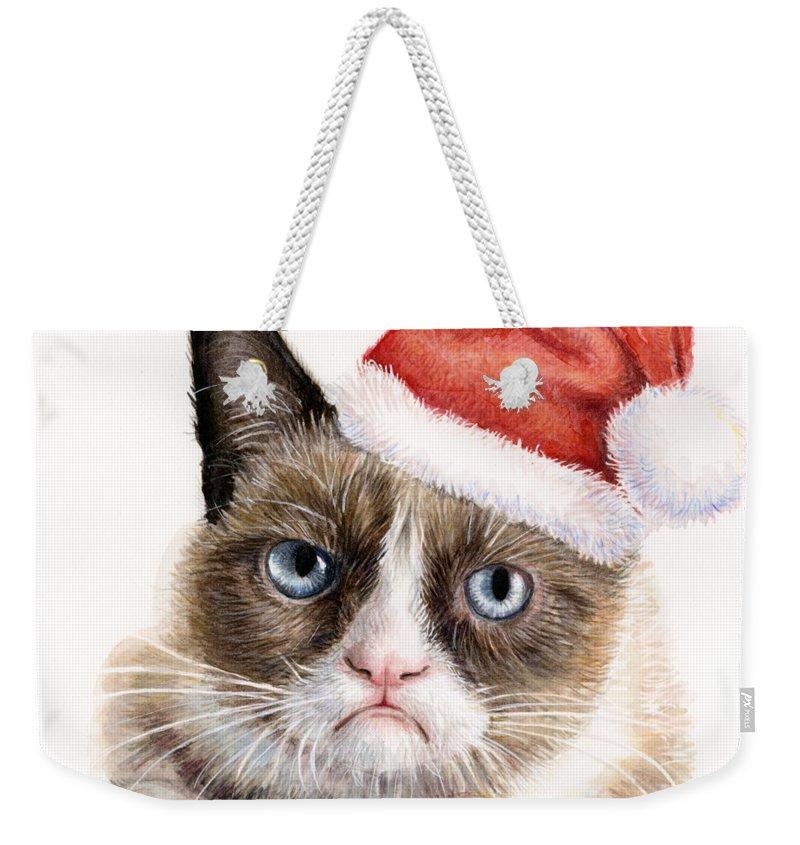 Grumpy Weekender Tote Bag featuring the painting Grumpy Cat As Santa by Olga Shvartsur