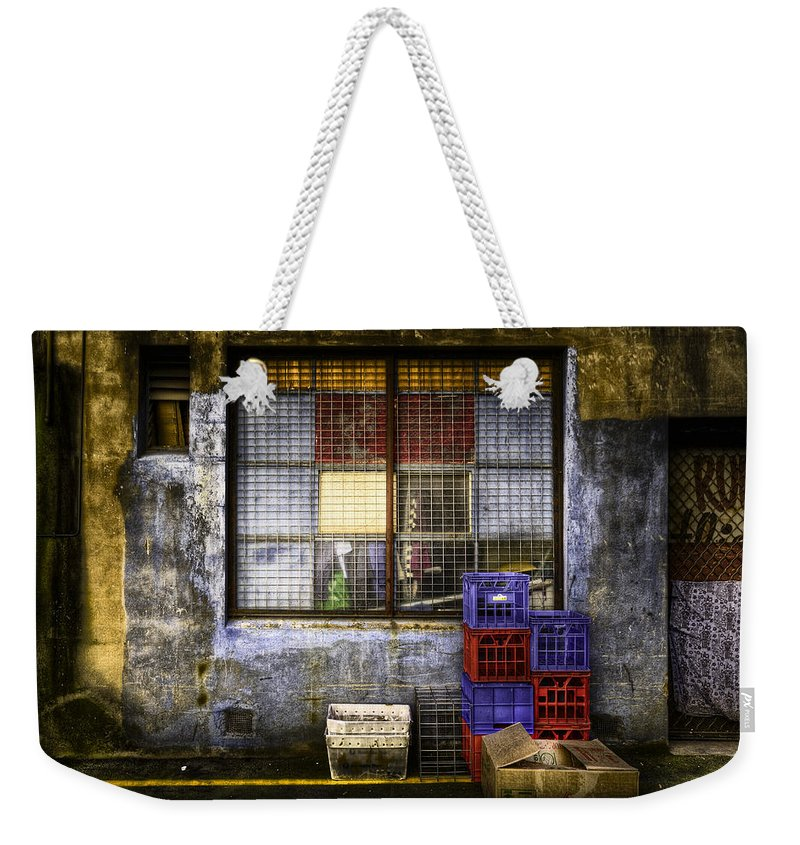 Grunge Weekender Tote Bag featuring the photograph Grunge Dept by Wayne Sherriff