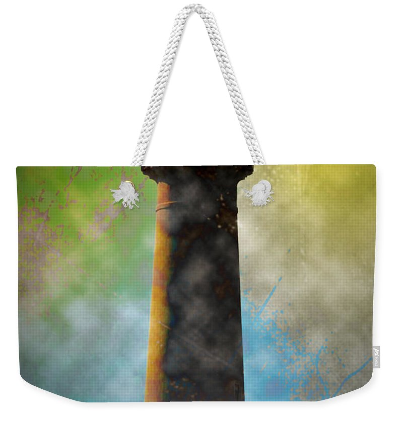 Grunge Weekender Tote Bag featuring the photograph Grunge Lighthouse by Bill Cannon