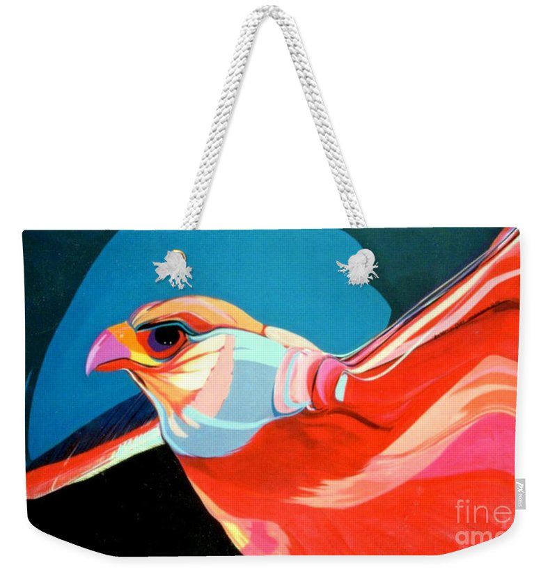 Bird Weekender Tote Bag featuring the painting Gryfalcon by Marlene Burns