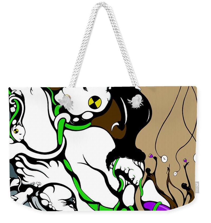 Modern Art Weekender Tote Bag featuring the drawing Quad Test Wine Break 4 Vines by Craig Tilley
