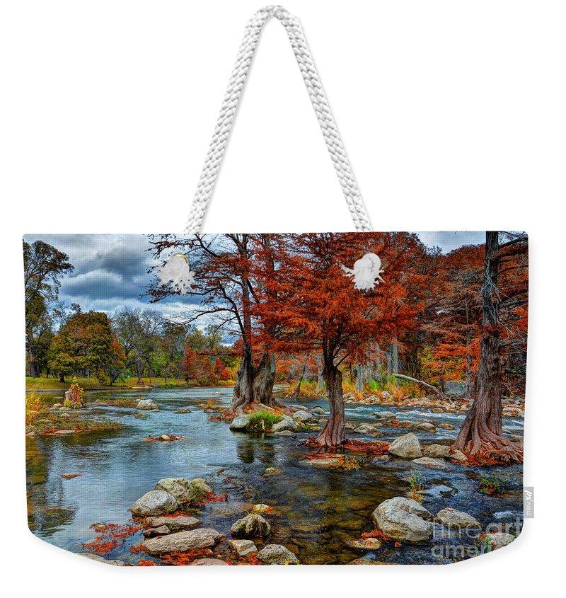 Guadalupe River In Autumn Weekender Tote Bag featuring the photograph Guadalupe River In Autumn by Savannah Gibbs