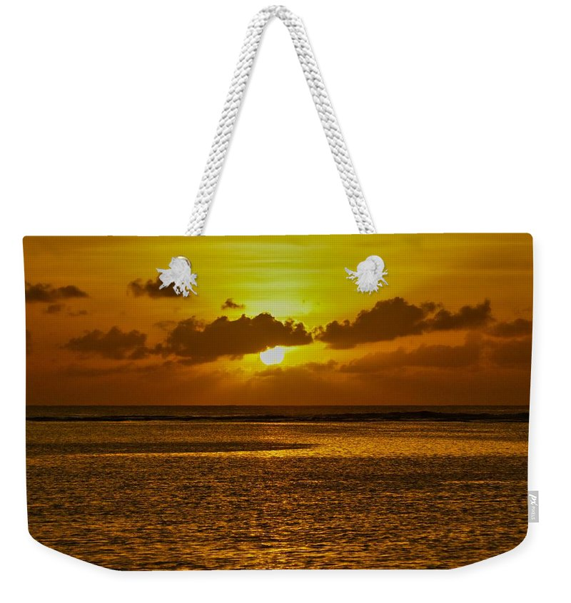 Sunset Weekender Tote Bag featuring the photograph Guam Sunset by Byron Fair