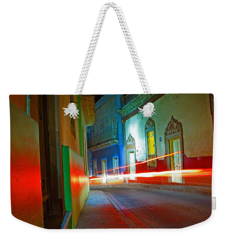 Shadow Weekender Tote Bag featuring the photograph Guanajuato Night by Skip Hunt