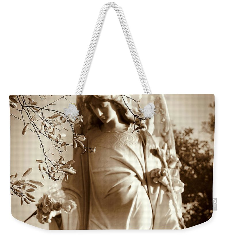 Angel Weekender Tote Bag featuring the photograph Guardian Angel Bw by Susanne Van Hulst